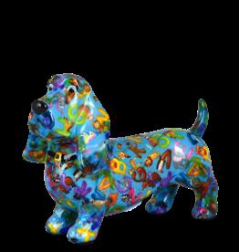 "Pomme-Pidou Spaarpot Hond ""Bruce"" M blauw met dieren en letters - Pomme-Pidou"