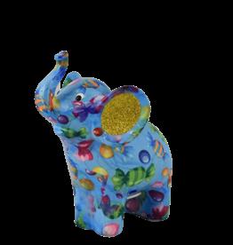"Pomme-Pidou Spaarpot Olifant ""Darcy"" M blauw met snoepjes  - Pomme-Pidou"