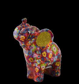 """Pomme-Pidou Spaarpot Olifant """"Darcy"""" M rood met bloemmetjes  - Pomme-Pidou"""