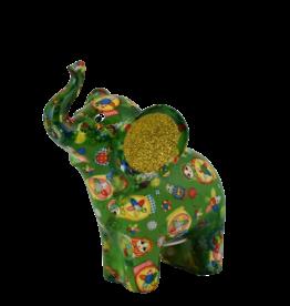 """Pomme-Pidou Spaarpot Olifant """"Darcy"""" M groen met matroesjka's  - Pomme-Pidou"""