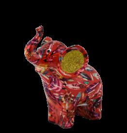"""Pomme-Pidou Spaarpot Olifant """"Darcy"""" M rood met veertjes  - Pomme-Pidou"""