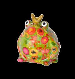 """Pomme-Pidou Spaarpot Kikker """"Freddy"""" M groen met bloemen - Pomme-Pidou"""