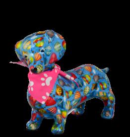 """Pomme-Pidou Spaarpot Teckel """"Daphne"""" M blauw met luchtballonnen - Pomme-Pidou"""