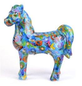 """Pomme-Pidou Spaarpot Paard """"Joy"""" blauw met letters  - Pomme-Pidou"""