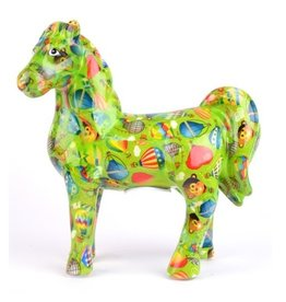 "Pomme-Pidou Spaarpot Paard ""Joy"" groen met luchtballonnen  - Pomme-Pidou"