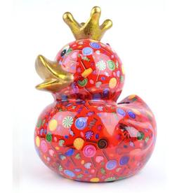"""Pomme-Pidou Spaarpot Eend """"Ducky"""" L rood met lolly's - Pomme-Pidou"""