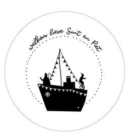 """Zoedt Muurcirkel Sinterklaas Stoomboot """"Welkom lieve Sint en Piet"""" 20x20cm - Zoedt"""