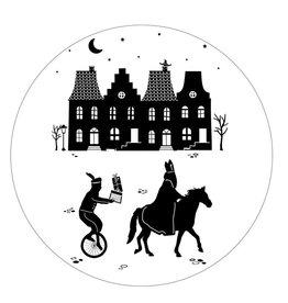 Zoedt Muurcirkel Sinterklaas Grachtenpanden 20x20cm - Zoedt