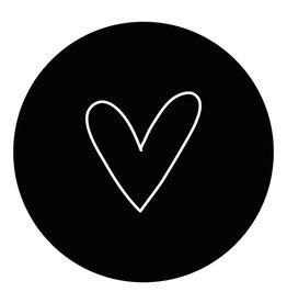 Zoedt Muurcirkel Zwart met wit hart 40x40cm - Zoedt