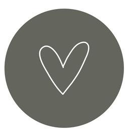 Zoedt Muurcirkel Olijf groen met wit hart 30x30cm - Zoedt