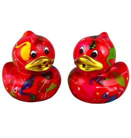 """Pomme-Pidou Peper & Zout Stel Eend """"Ducky"""" rood met flamingo's - Pomme Pidou"""