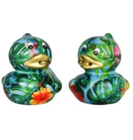 """Pomme-Pidou Peper & Zout Stel Eend """"Duck"""" blauw met jungle print - Pomme Pidou"""