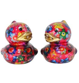 """Pomme-Pidou Peper & Zout Stel Eend """"Duck"""" roze met bloemen print - Pomme Pidou"""