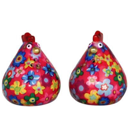 "Pomme-Pidou Peper & Zout Stel Kip ""Matilda"" roze met bloemen print - Pomme Pidou"
