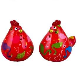 "Pomme-Pidou Peper & Zout Stel Kip ""Matilda"" rood met flamingo's - Pomme Pidou"