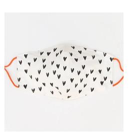 Mondkapje Wit met zwarte Hartjes - Caroline Gardner