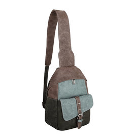 Noi-Noi Cross Body Rugtas Olive brown / l.blauw - Noi-Noi