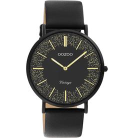 OOZOO Horloge Vintage C20132 zwart goud 40mm - OOZOO