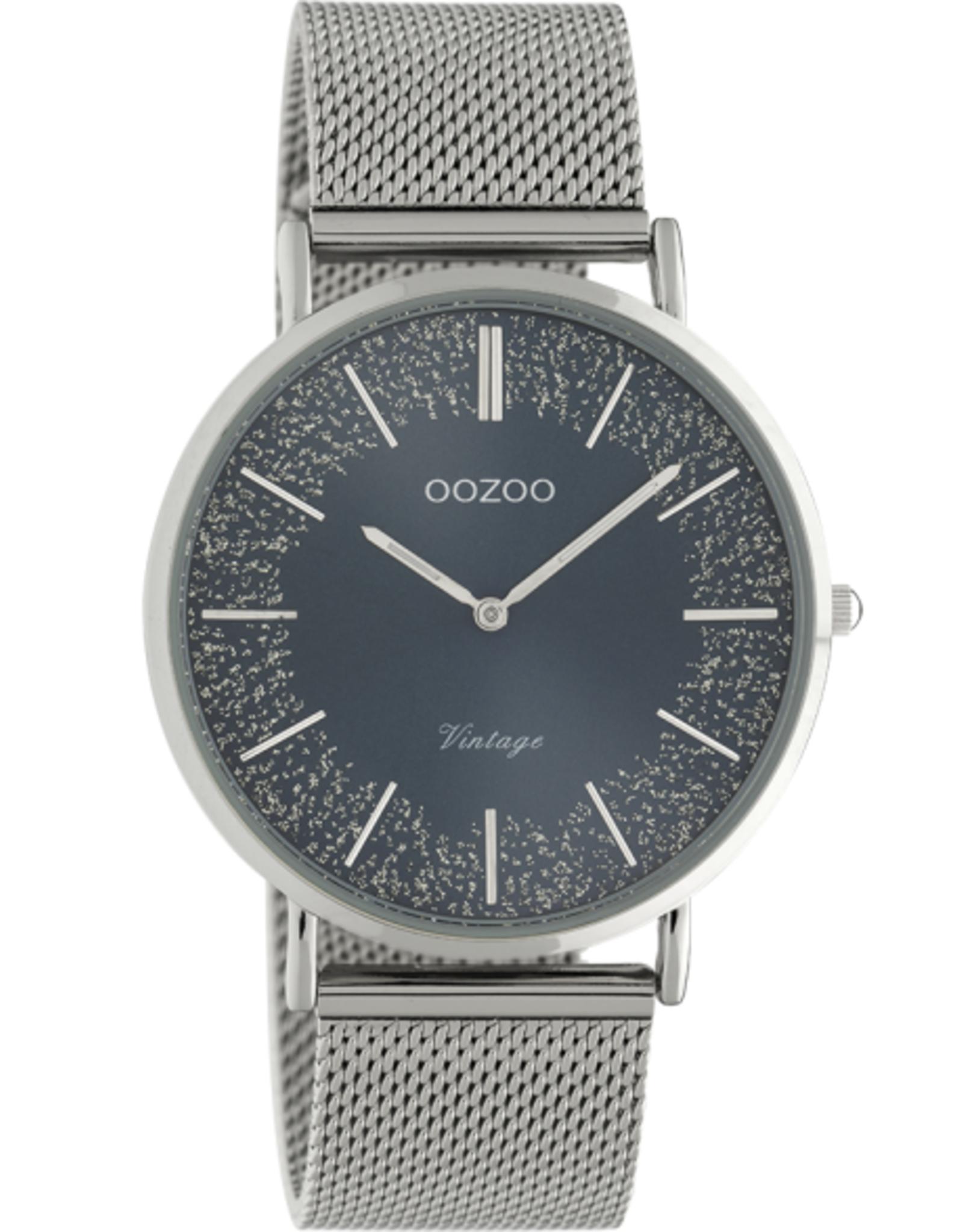 OOZOO Horloge Vintage C20134 zilver blauw 40mm - OOZOO