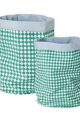 Rice OpbergZak groen check middel 30x40cm - Rice