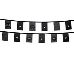 Zoedt Vlaggenlijn voor buiten zwart stippen patroon en teksten - Zoedt