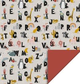 House of Products Inpakpapier Alphabet Dubbelzijdig 70cmx3m