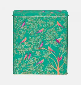Blik Vogels groen 22x7x26cm - Sara Miller