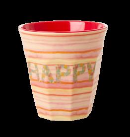 Rice Beker Melamine met Happy Pink print - Rice