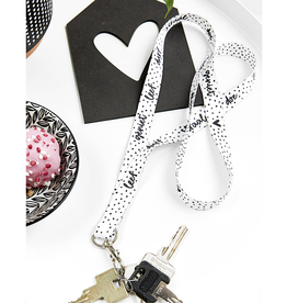 Zoedt Keycord / Sleutelhanger zwart wit met tekst - Zoedt