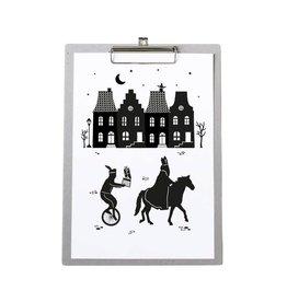 Zoedt Poster Sinterklaas Grachtenpanden op grijs klembord - Zoedt