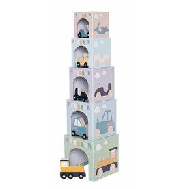 JaBaDaBaDo Stapeltoren met houten voertuigen (10-delig) - JaBaDaBaDo