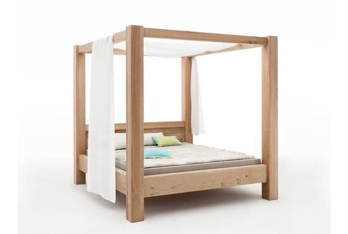 Massief houten bed Hemelbed (hout: moeras eiken) - landelijke uitstraling