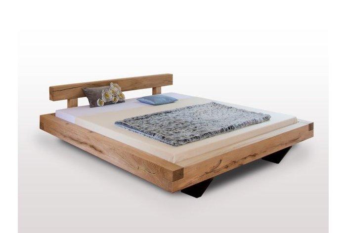 Massief houten bed Lans (hout: moeras eiken) - landelijk effect