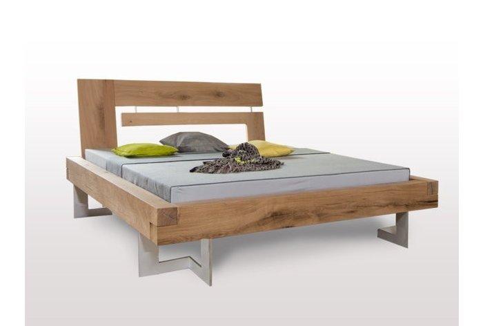 Massief houten bed Thaur (hout: moeras eiken) - landelijke uitstraling