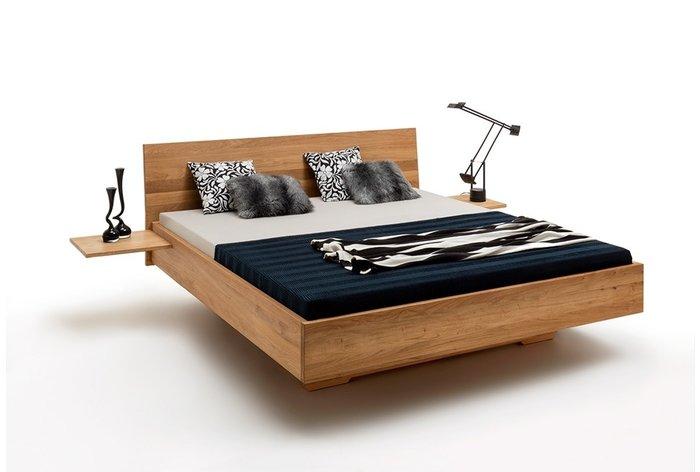 Massief houten bed Drachten (hout: wildeiken) - aanhang nachtkastjes tegen meerprijs