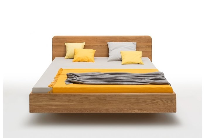 Vooraanzicht zwevend houten bed Brugge (hout: wild eiken)