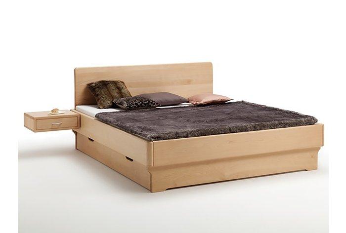Massief houten bed Wassenaar (hout: beukenhout, geolied) met aanhang nachtkastje