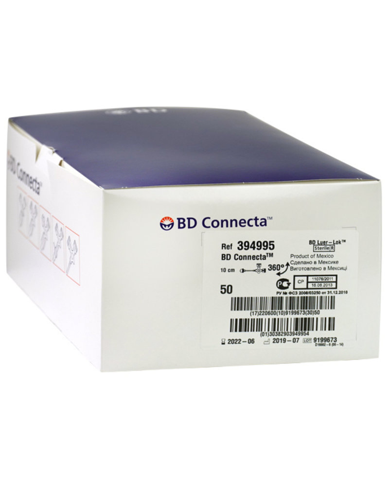 BD BD Connecta  3-wegkraan met verlengslang 10 cm  Wit