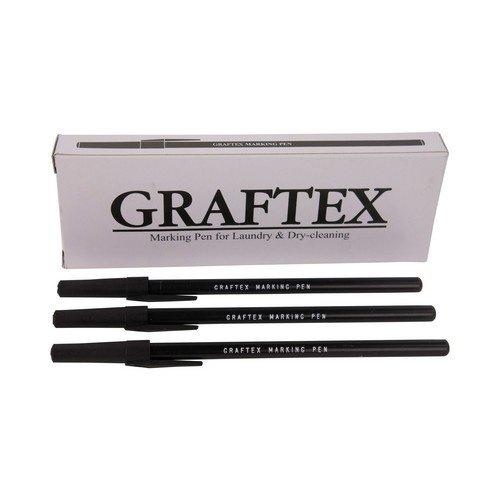 Textielstift Graftex - Zwarte wasserij pennen - 12 stuks