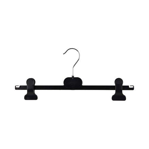 Kunststof kledinghangers RK/CAP-36 - Zwart met klemmen - 200 stuks