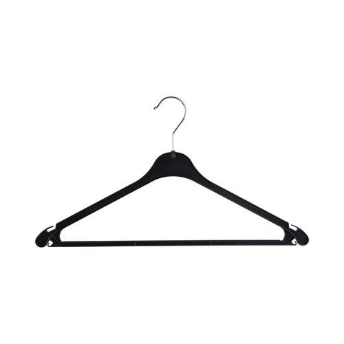 Kunststof kledinghangers K43 - Zwart met dubbele inkepingen - 43 cm - 250 stuks