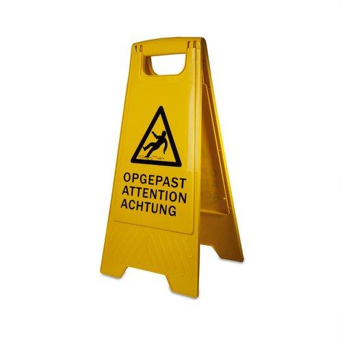 Waarschuwingsbord voor natte vloer - Geel
