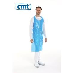 Schort op blok geruwd PE - Blauw of wit - 20 mµ 125x80 cm - 100 stuks - CMT