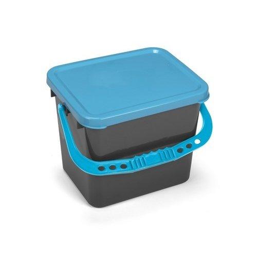 Emmer 13 liter - Voorbehandeling moppen - Grijs met blauwe deksel
