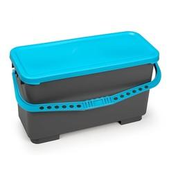 Emmer 20 liter - Voorbehandeling moppen - Grijs met blauwe deksel