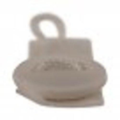 Knoopsluiting 15 cm - Wasnetsluiting met knop - Wit