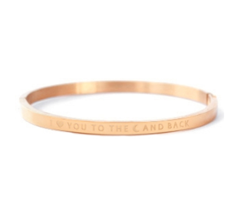 Armband | I love you to the moon and back rosé  gold
