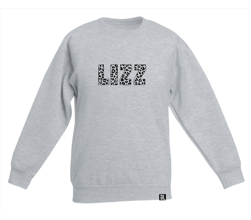 Sweater kind   Naam in leopard print