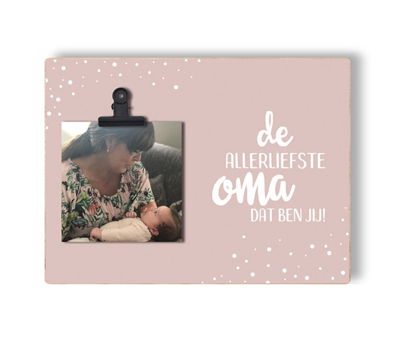 Houten fotoblok met clip | De allerliefste (pink)