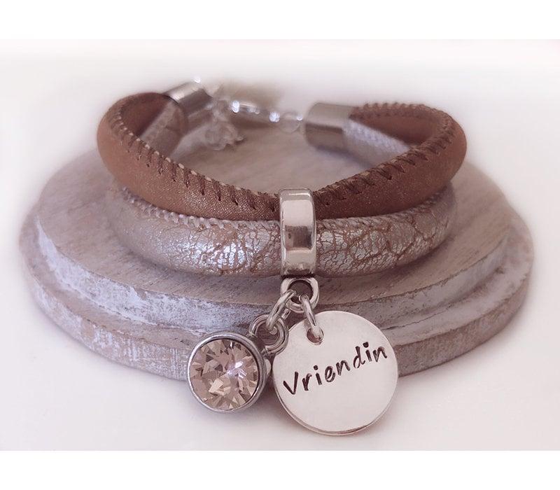 Armband | Brown silver